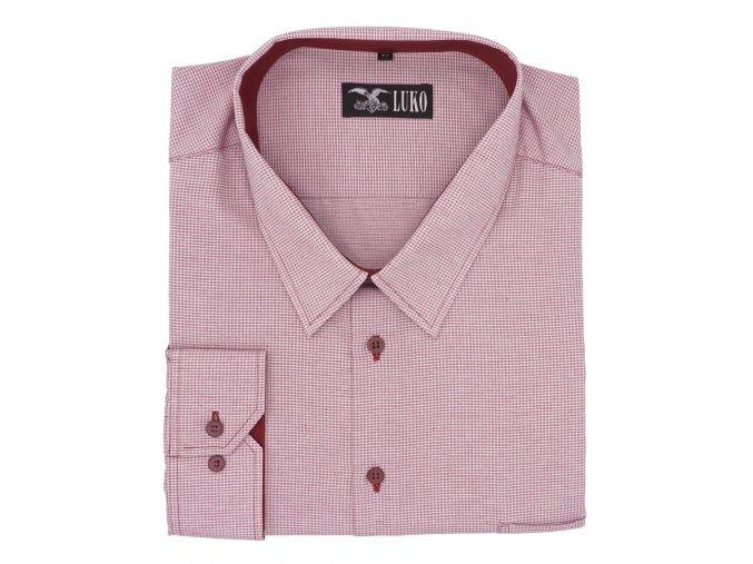 Pánská košile bordó tečka D 1