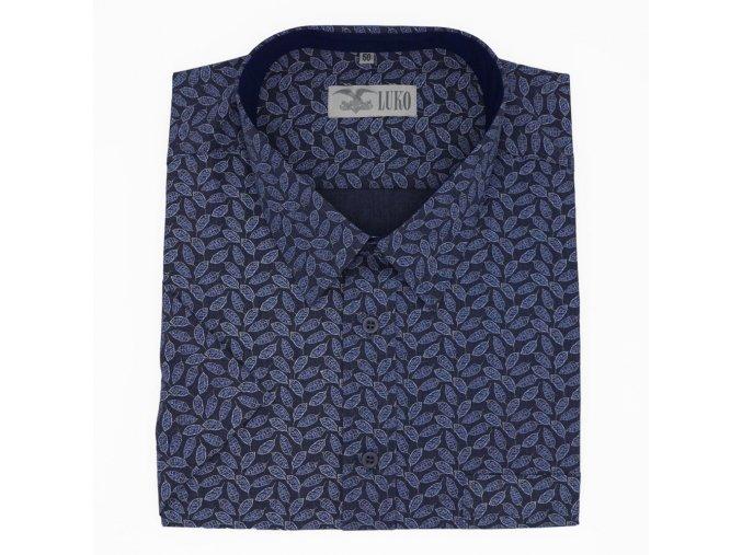 Pánská košile modrá s listy K 204113 1