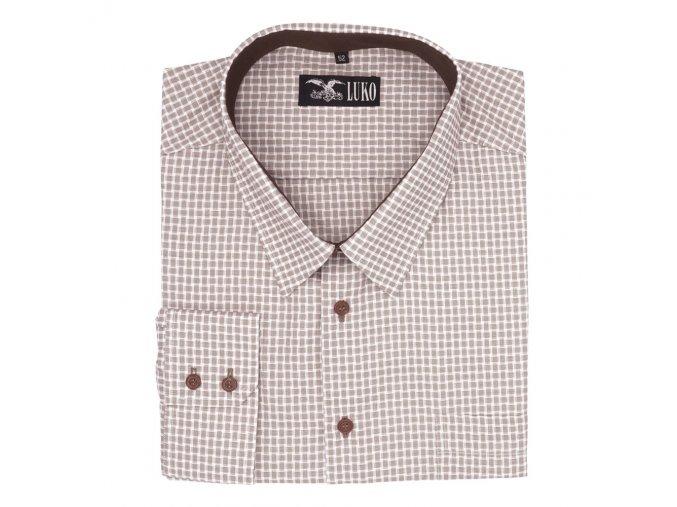 Pánská košile hnědá kostka D 142204 1