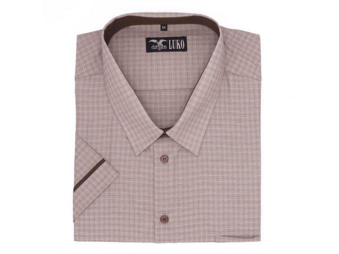 Pánská košile hnědá světlá s kostičkou K 174105 1