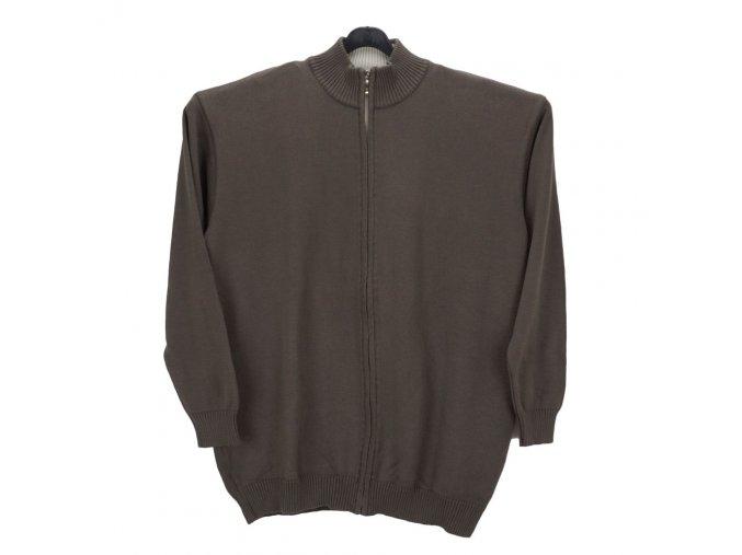 Pánský svetr dlouhý zip oříšek