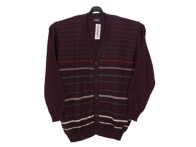 Pánský svetr vínový se vzorem propínací