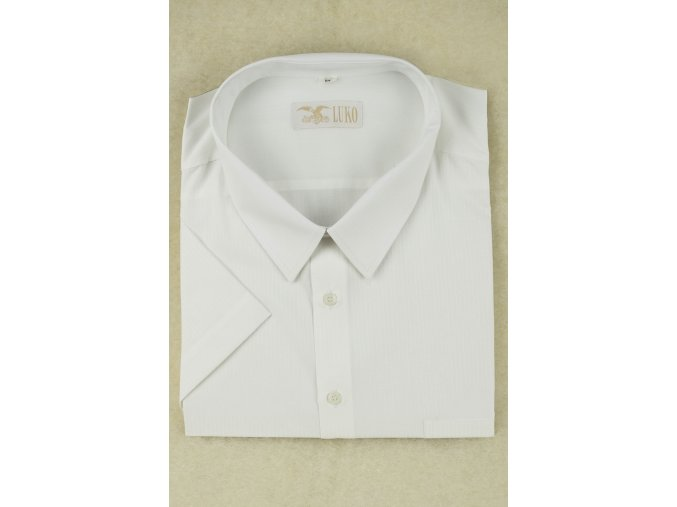 pánská košile kr. bílá s bílým proužkem