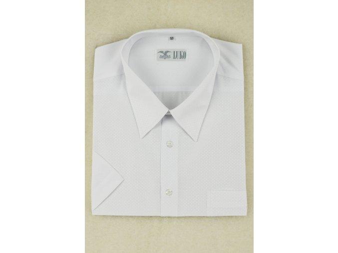 pánská košile kr. bílá tečka
