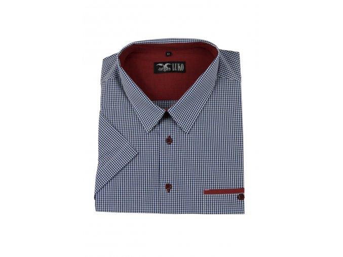 Pánská košile s modrou kostičkou vínový lem K
