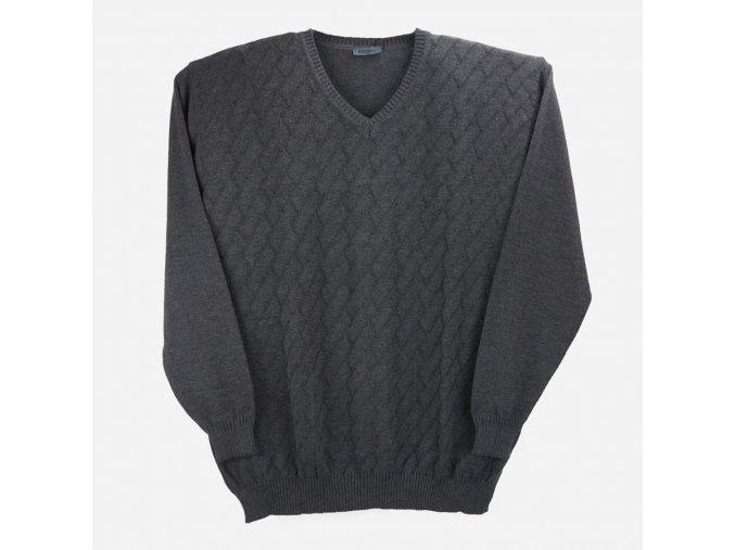 Pánský svetr šedý šikmý vzor
