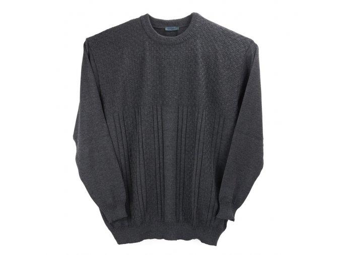 Pánský šedý svetr kombi vzor