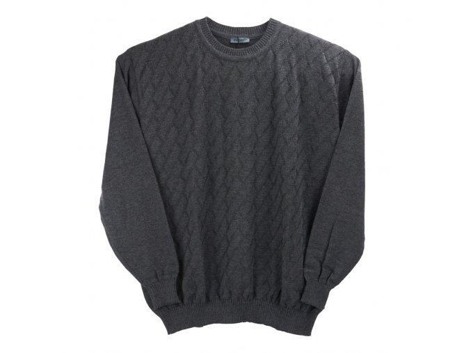 Pánský šedý svetr šikmý vzor U