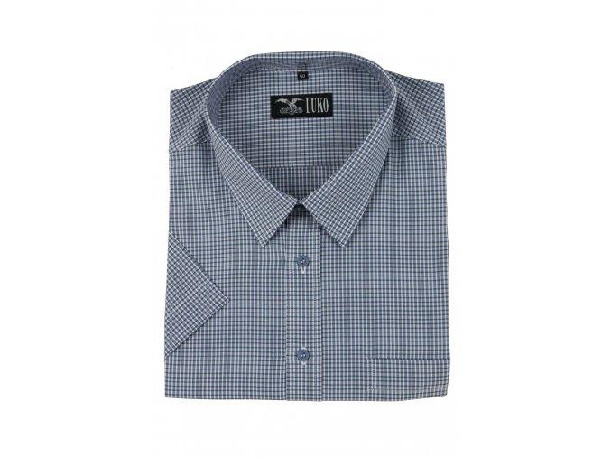 pánská košile kr. modrobílé jemné káro