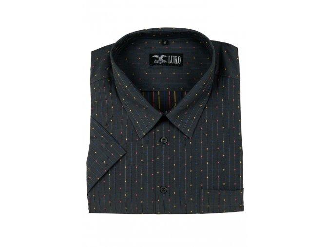 pánská košile kr. tmavě šedá s barevnými tečkami