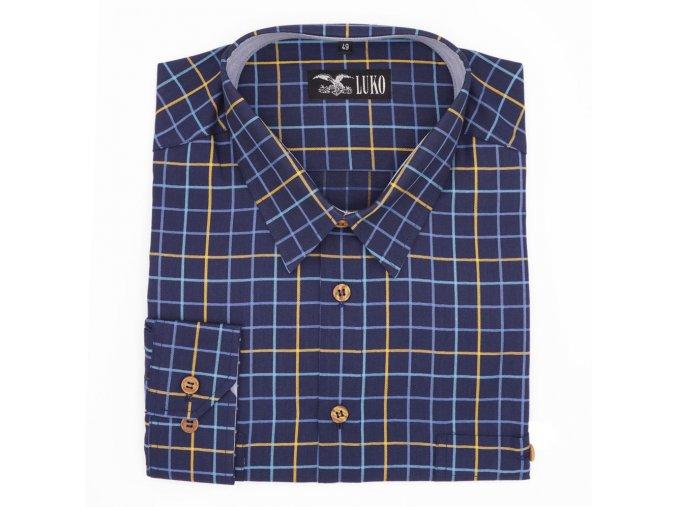 Košile modrá se žlutou kostkou 1D