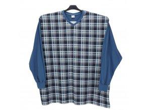 Pánské pyžamo modré zelená kostka DP1