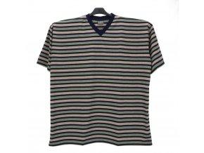 Pánské nadměrné tričko hnědá melír modrá KV
