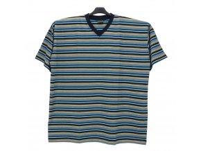 Pánské nadměrné tričko modrá melír široký tyrkys KV