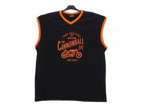 Pánské nadměrné tričko bez rukávů černé oranž BV