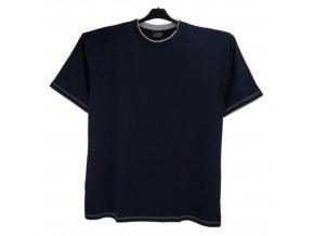 Pánské nadměrné tričko tmavě modré šedý lem K