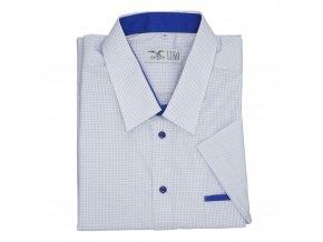 Pánská nadměrná košile bílá s modrou kostičkou K1