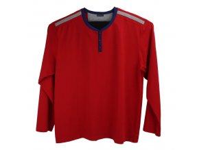 Pánské pyžamo červené s modrým lemem 2D