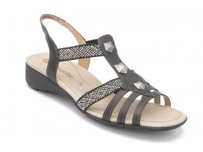 Dámské nadměrné sandály černé zdobené 1