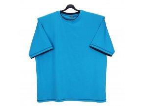 Pánské tričko tyrkys modrý lem KU
