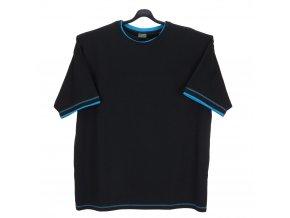 Pánské tričko černé tyrkys lem KU