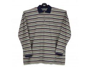 Pánské tričko s límcem zelený proužek