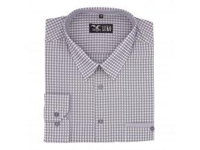Pánská košile šedá kostka tmavý steh D