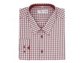 Pánská košile kostka červená modrá D1