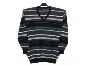 Pánský svetr pruhovaný s tyrkysem V