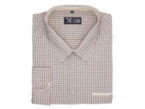 Pánská nadměrná košile světle hnědá kostka D 1