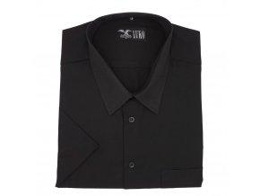 Pánská luxusní černá košile s kosým vzorem K1 184109