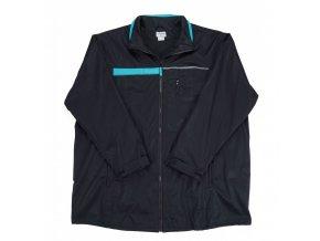 Pánská soft bunda černá s tyrkys páskem 1