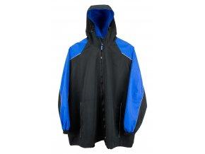 Sportovní pánská bunda černo modrá s kapucí
