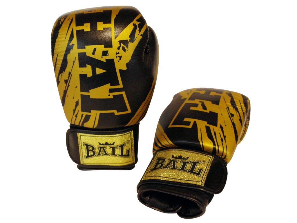 Boxerské rukavice kůže  Bail Thai - černá/zlatá barva