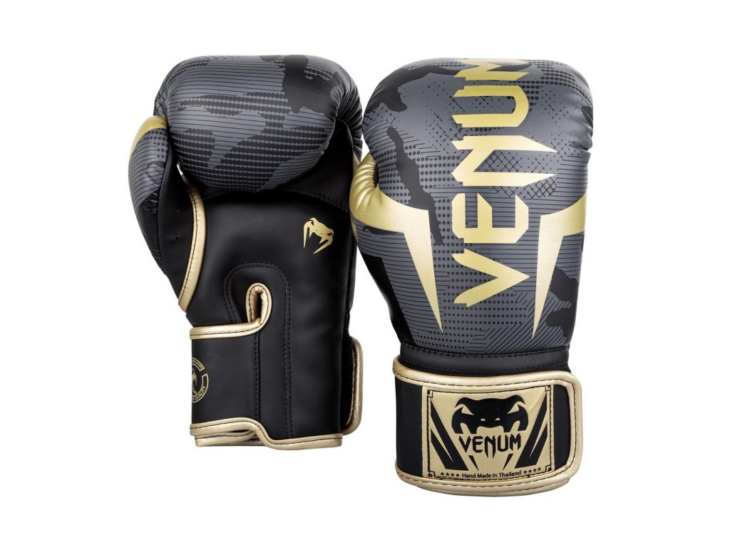 Boxerské rukavice Venum Elite - černá/zlatá barva