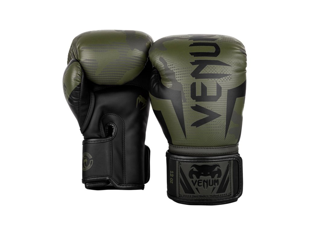Boxerské rukavice Venum Elite - khaki/camo barva