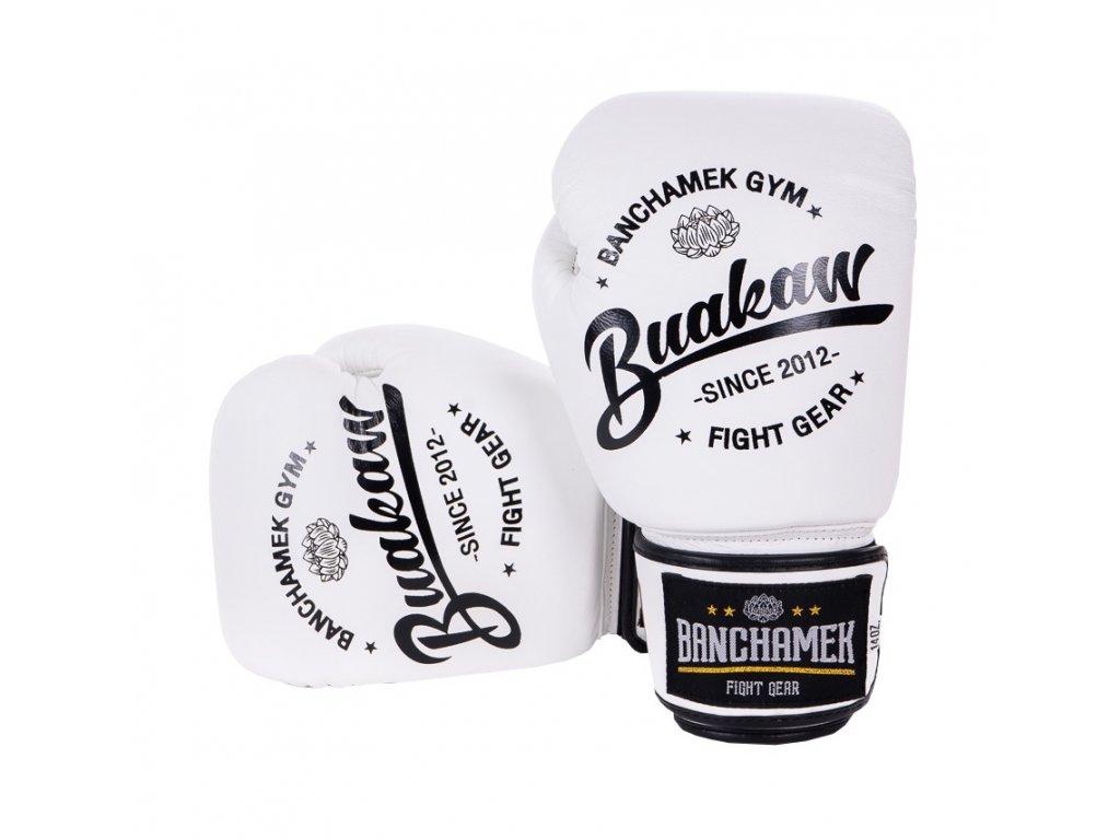 Kožené boxerské rukavice Buakaw - bílá barva