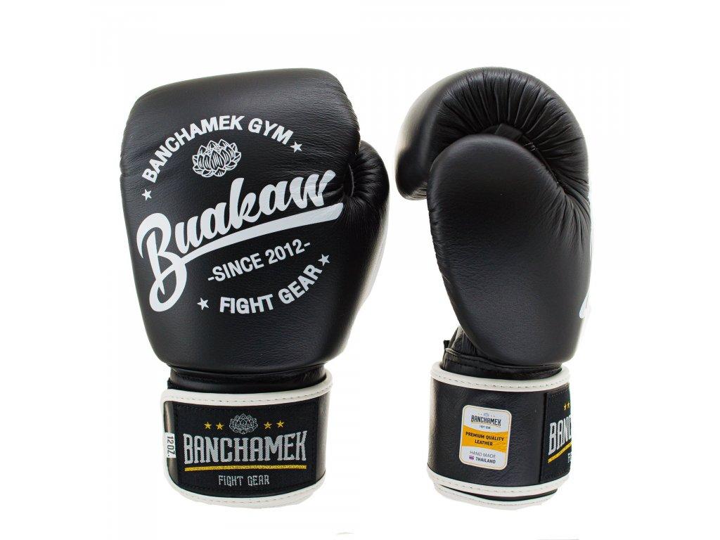 Kožené boxerské rukavice Buakaw - černá barva