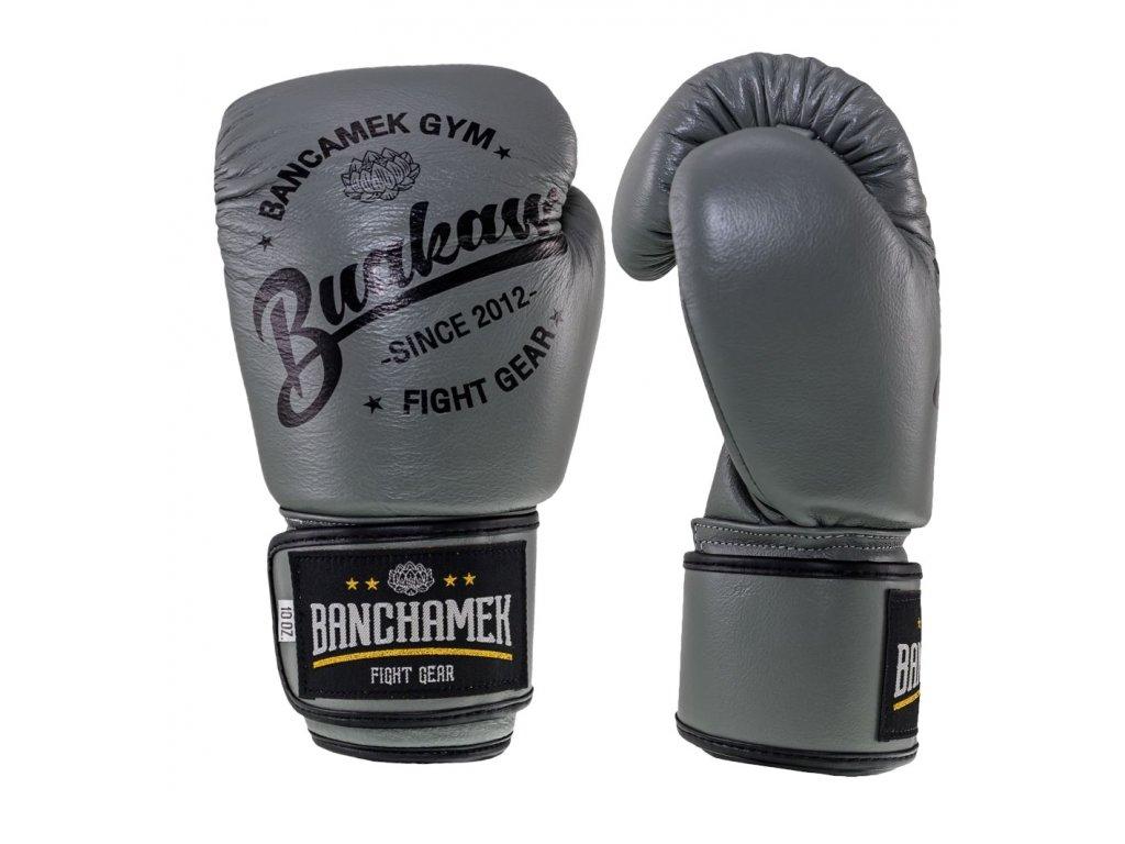 Kožené boxerské rukavice Buakaw - šedá barva
