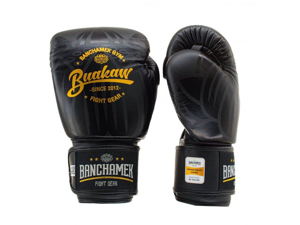 Kožené boxerské rukavice Buakaw Lotus - černá barva