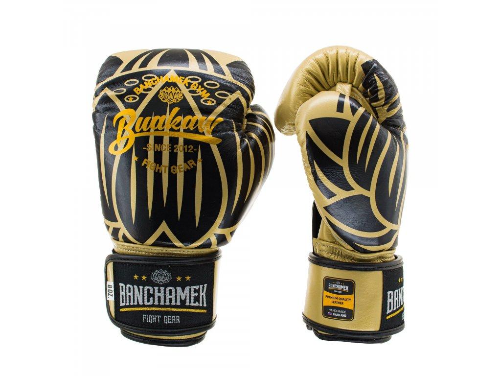 Kožené boxerské rukavice Buakaw Lotus - zlatá barva