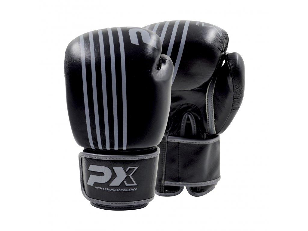 Boxerské rukavice Phoenix kožené - černá/šedá barva