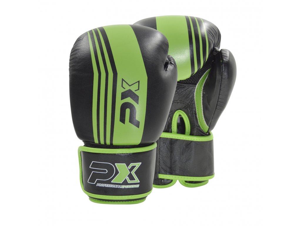 Boxerské rukavice Phoenix kožené - černá/ZELENÁ barva