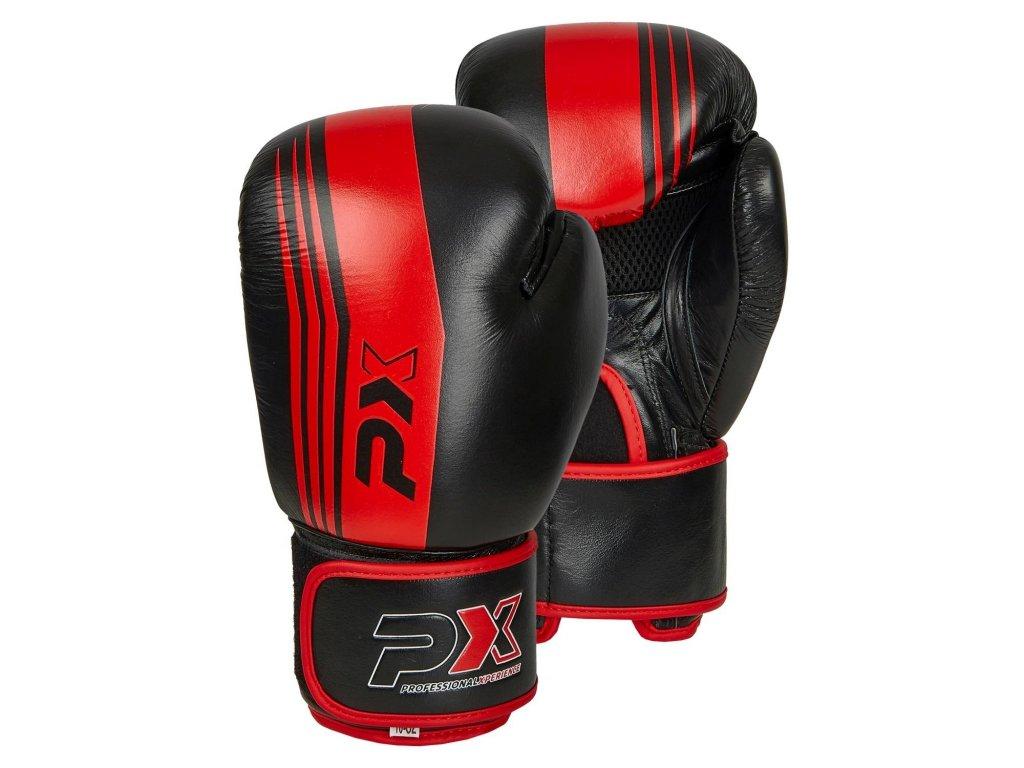 Boxerské rukavice Phoenix kožené - černá/červená barva