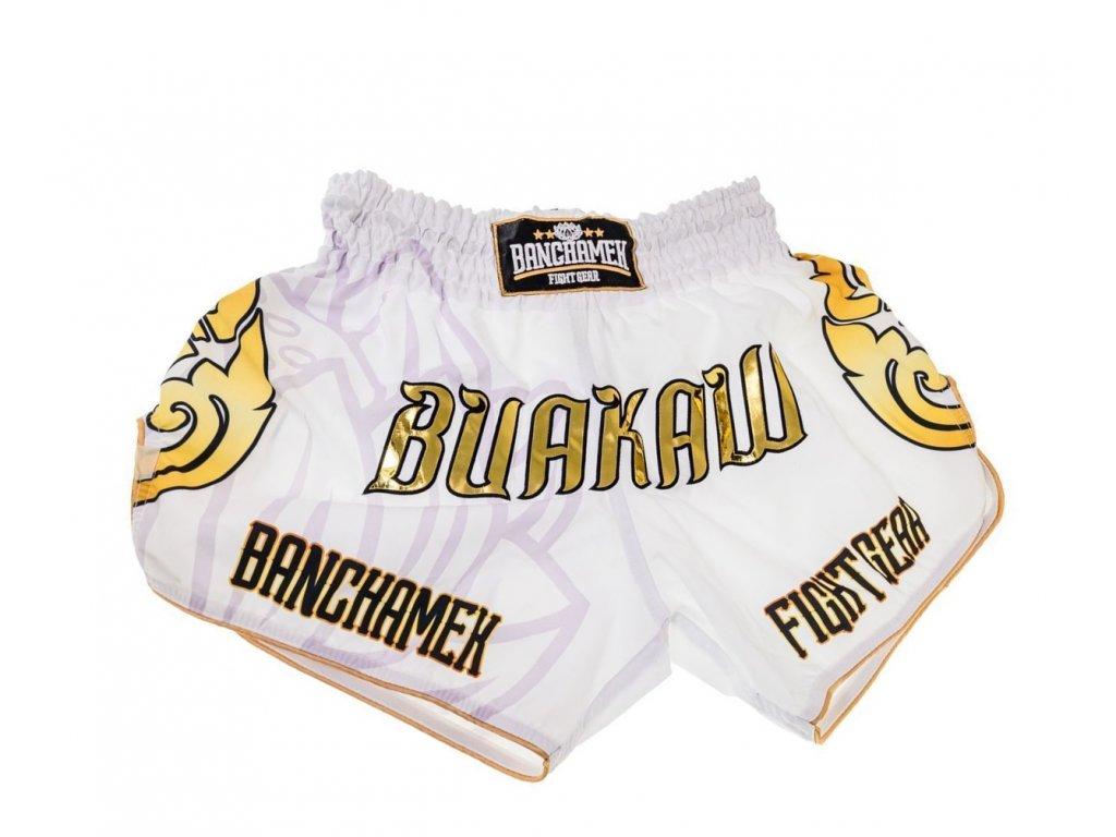 Thajské trenky Buakaw - bílá barva