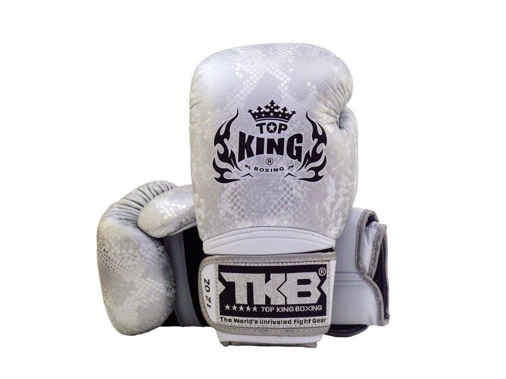 Top King kožené boxerské rukavice Super Snake - bílá/stříbrná