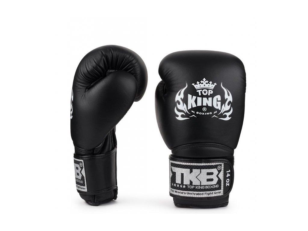 Top King kožené boxerské rukavice Super - černá
