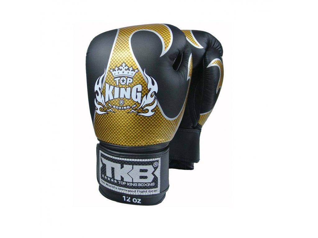 Top King kožené boxerské rukavice Empower - černá/zlatá
