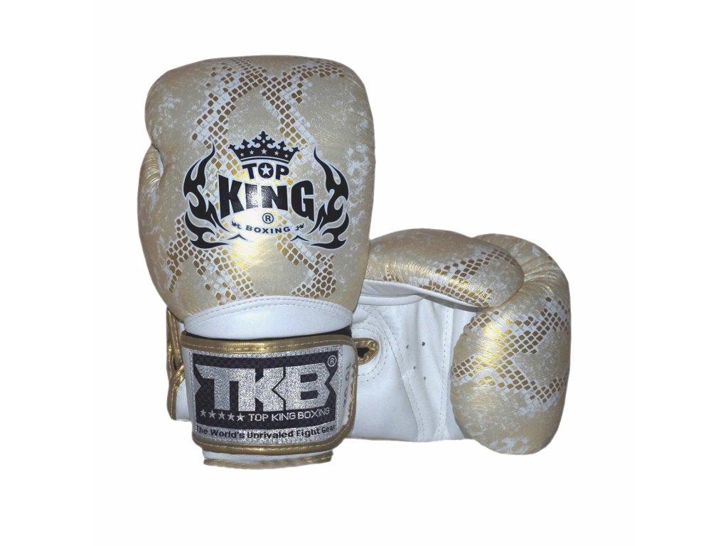 Top King kožené boxerské rukavice Super Snake - bílá/zlatá