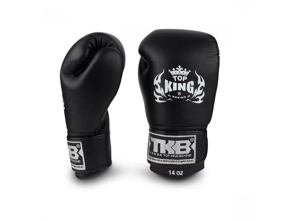 Top King Boxing kožené boxerské rukavice Ultimate - černá